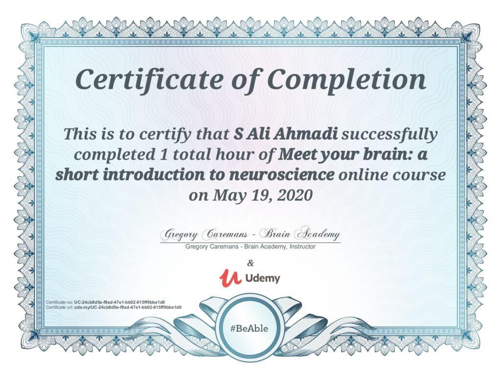 مدرک آشنایی با مغز سید علی احمدی